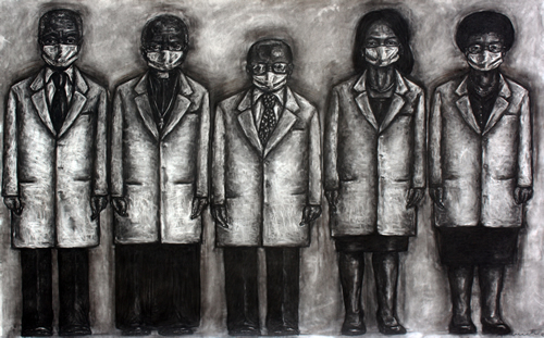 Peterson Kamwathi, untitled (Peacebrokers) (charcoal on soft pastel paper; 243.8 cm by 152.4 cm)